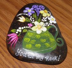 Hand painted Idaho Rock-Wildflowers You are my by Paintinstuff