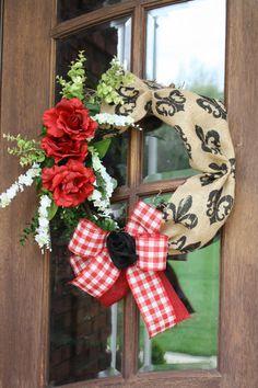 Derby Fleur de lis Burlap and Roses by CellaJaneCreations on Etsy, $67.00