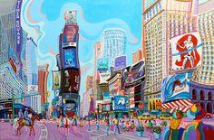 TIMES SQUARE (NUEVA YORK).Huile sur toile. 97 x146 x 3,5 cm.
