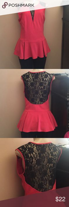 Orange and Black Lace Peplum Top Very Nice material! Orange top with gorgeous black lace covering the back. No tags but very good condition. Zipper runs down the side ABS Allen Schwartz Tops