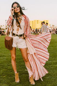 Festival style boho flowing kimono dress at Coachella 2016 | Spell Blog