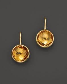 Citrine Small Drop Earrings in 14K Yellow Gold