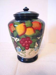 Vintage Canister Nonni's Biscotti Jar Fruit Ginger Cookie Jar Kitchen Storage