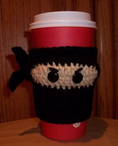 Crochet Ninja Coffee Cup Cozy by TheCraftingChemist on Etsy Crochet Coffee Cozy, Coffee Cup Cozy, Crochet Cozy, Mug Cozy, Love Crochet, Knitting Projects, Crochet Projects, Yarn Crafts, Sewing Crafts