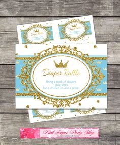 Diaper raffle card inserts, Royal Prince Baby Shower Blue, Gold, Glitter, Crown / Printable Digital Diaper Raffle / INSTANT DOWNLOAD