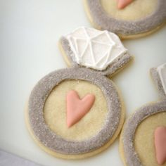 Bridal shower cookies....just like the idea of incorporating an engagement ring onto shower edible