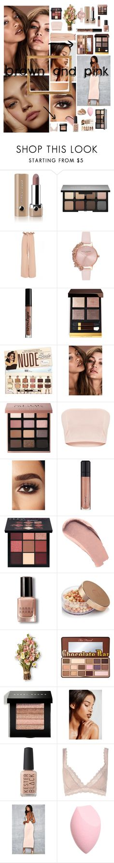 """Brown and pink"" by modafashiononline ❤ liked on Polyvore featuring beauty, Marc Jacobs, Smashbox, Olivia Burton, Charlotte Russe, Bobbi Brown Cosmetics, L'Oréal Paris, Huda Beauty, Burberry and The Body Shop"