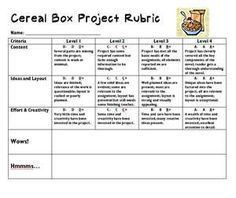 Cereal Box Book Report Book Reports Box And Books