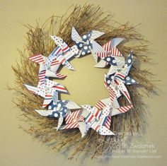 Paper Pinwheel Wreath project by Song of My Heart