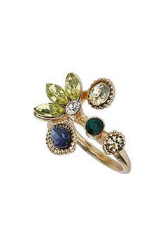 Nov 2013-Leaf Cluster Rhinestone Ring - Jewelry  - Bags & Accessories