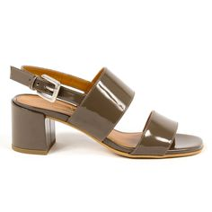 V 1969 Italia Womens Sandal Taupe Salma Ankle Strap Block Heel, Ankle Strap Sandals, Block Heels, Leather Heels, Calf Leather, Taupe Color, Versace, Heeled Mules, Open Toe