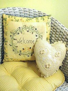 Yellow cushion and pillows | White wicker chair #spring