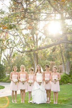 Blush bridesmaid dresses.