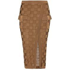 Balmain Woven Skirt ($1,330) ❤ liked on Polyvore featuring skirts, balmain, bottoms, brown, woven skirt, brown skirt and balmain skirt