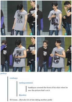 Baekhyun realizing exactly what is on his shirt^.^