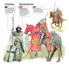knights in the battle of Grunwald: infantryman of Teutonic Order; Polish knight (spearman) of Szeliga coat of arms, crossbowman close to him; Medieval Knight, Medieval Armor, Military Art, Military History, Armadura Medieval, Vietnam History, Landsknecht, Chivalry, Fantasy Weapons