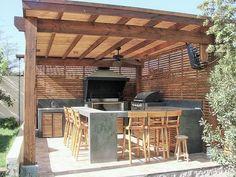 Architecture of Houses: Models of quinchos for roasts. Outdoor Kitchen Patio, Casa Patio, Outdoor Kitchen Design, Outdoor Spaces, Outdoor Living, Wooden Pergola, Diy Pergola, Gazebo, Pergola Ideas