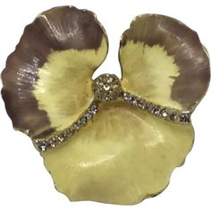 6a1943d06 Signed Weiss Pansy Pin Enamel & Rhinestones Yellow. Misty Lane Vintage