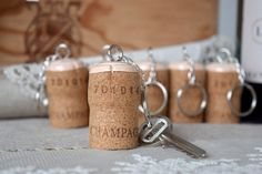 Handmade keyring made from Champagne cork with a pink by RaliCraft