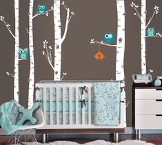 Owls and Birch Tree Forest Wall Decal, Birch trees, Birch forest, Birch Tree Owl Wall Vinyl for Nursery, Kids or Childrens Room