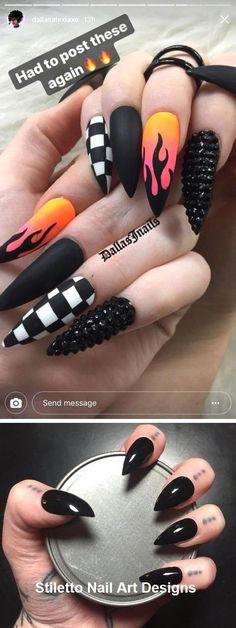 gel nail shapes Chart #nailshapesclassy Punk Nails, Edgy Nails, Grunge Nails, Stylish Nails, Trendy Nails, Gothic Nails, Stiletto Nail Art, Fire Nails, Nagel Gel