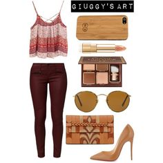 Wood Ethnic by giuggysart on Polyvore featuring polyvore, moda, style, AG Adriano Goldschmied, Christian Louboutin, Valentino and Ray-Ban