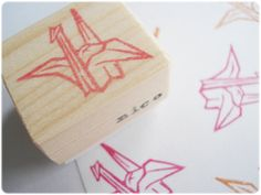 Origami crane stampJapanese origami crane by JapaneseRubberStamps, £5.00