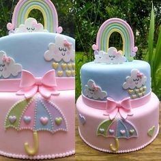 68 ideas baby shower cake rainbow party ideas for 2019 Baby Cakes, Baby Shower Cakes, Gateau Baby Shower, Baby Birthday Cakes, Baby Shower Cake Designs, Rainbow Birthday, Rainbow Baby, Cake Rainbow, Rainbow Pastel