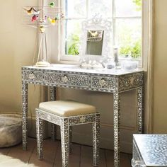 Boudoir - Stunning craftsmanship in the vanity table with matching bench...artistic appreciation & personal timeless expression.