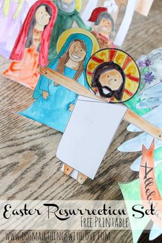 I'm using this for Children's Church: figurines from the Easter story that can stand up. Catholic Crafts, Catholic Kids, Resurrection Day, Easter Coloring Pages, Easter Story, Easter Printables, Easter Activities, Holy Week, Sunday School Crafts