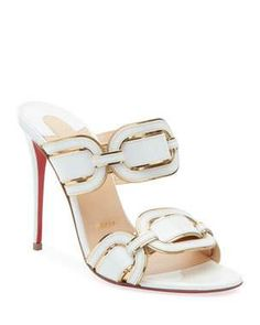 Balistra Piped Red Sole Slide Sandals by Christian Louboutin at Neiman Marcus Women's Shoes, Shoe Boots, Shoes Style, Shoe Shoe, Heeled Mules Sandals, Mules Shoes, Brown Sandals, Christian Louboutin Heels, Louboutin Shoes