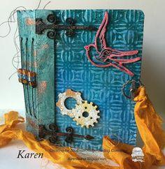 A mix media art journal by Karen Bearse. Full tutorial. Mini album using eileen hull sizzix dies glimmer mist, with chipboard.