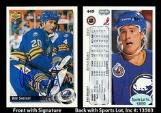 Bob Sweeney Signed 1992 Upper Deck #449 Buffalo Sabres Card SL Authentic . $7.00. National Hockey League Center - Right WingBob SweeneyHand Signed 1992 Upper Deck #449 Trading CardSweeney Played For:Boston Bruins 1986-1992Buffalo Sabres 1992-1995New York Islanders 1995-1996Calgary Flames 1995-1996.GREAT AUTHENTIC BOB SWEENEY HOCKEY COLLECTIBLE!!AUTOGRAPHS GUARANTEED AUTHENTIC BY SPORTS LOT, INC. WITH SPORTS LOT, INC STICKER ON ITEM.SPORTS LOT, INC. #: 13503