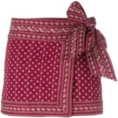Isabel Marant Étoile 'Lyne' wrap skirt ($210) ❤ liked on Polyvore featuring skirts, mini skirts, bottoms, saias, red, mini skirt, red mini skirt, cotton skirt, cotton mini skirt and cotton wrap skirt