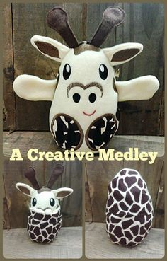 Peekaboo Giraffe In the Hoop Stuffed Softie - Reversible folds into an egg, ITH, IN The Hoop, Embroi Giraffe Stuffed Animal, Stuffed Animals, Giraffe Fabric, Fleece Crafts, Felt Keychain, Easter Egg Crafts, Easter Eggs, Softies, Hand Sewing