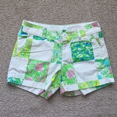 "Lilly Pulitzer shorts sz 2 Excellent condition patchwork shorts from November 13! Callahan style. Waist measures 14"" and inseam 5"" Lilly Pulitzer Shorts"