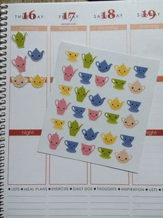 Planner Stickers 30 Kawaii Teapot Stickers by twiceasnicelettering