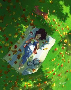 Cartoon Girl Images, Cartoon Art Styles, Alone Art, Girl And Dog, Cute Cartoon Wallpapers, Art And Illustration, Anime Art Girl, Aesthetic Art, Cute Drawings