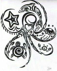 Pin Tribal Octopus Tattoo Design Beautiful Tattooed On Your Picture on . Ta Moko Tattoo, Hawaiianisches Tattoo, Body Art Tattoos, Tribal Tattoos, Small Tattoos, Polynesian Tattoos, Starfish Tattoos, Armband Tattoo, Tribal Dolphin Tattoo