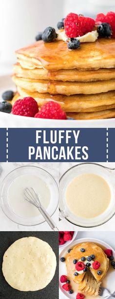 Make these Fluffy Homemade Pancakes with a few simple steps and ingredients! This is an easy classic pancake recipe that is perfect every single time. Delicious Breakfast Recipes, Savory Breakfast, Easy Delicious Recipes, Breakfast Items, Perfect Breakfast, Brunch Recipes, Yummy Food, Amazing Recipes, Easy Recipes