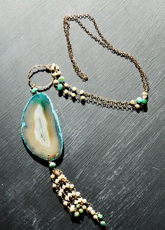 Darling long geode, pearl, rough cut emerald necklace with signature Lula Knot from DarlingHeartCreative