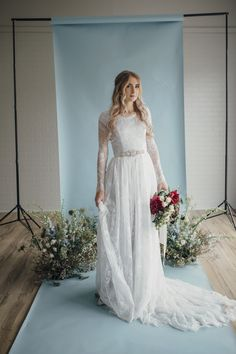 Fern gown by Elizabeth Cooper Design   Photo by Cassandra Farley Photography   modest wedding dress   wedding dress with sleeves   ballgown   aline   sheath   long sleeves   lace wedding dress   wedding gown   lace   grey wedding dress   modest   wedding dress with long sleeves  