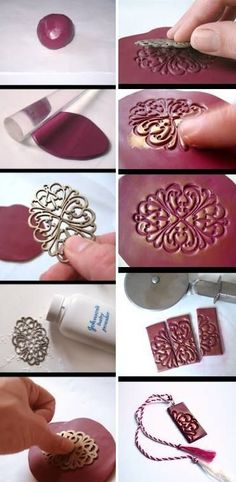 How to make your cool unique clay necklace step by step DIY tutorial instructions. make smaller for earrings. could use metal clay Fimo Clay, Polymer Clay Projects, Polymer Clay Creations, Polymer Clay Art, Clay Beads, Polymer Clay Jewelry, Paperclay, Bijoux Diy, Ceramic Jewelry
