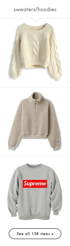 """""""sweaters/hoodies"""" by arielshaul ❤ liked on Polyvore featuring tops, sweaters, shirts, jumpers, beige, brown shirts, shirt sweater, brown crop top, beige cable knit sweater and beige shirt"""