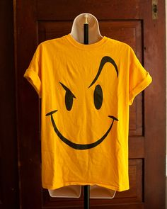 Yellow Smiley Face Man Tshirt - M on Etsy, $16.00