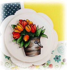Coloring a bucket with Copics. Cindy Lawrence at One Happy Stamper