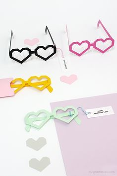 DIY Heart Glasses Valentine Cards Template