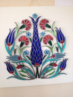 Turkish Pattern, Stained Glass Flowers, Turkish Art, Display Design, New Art, Needlepoint, Watercolor Tattoo, Machine Embroidery, Diy Crafts