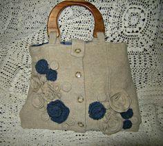 Felted Wool Purse Tan & Blue Felt Flower by SweaterTreasures, $58.00