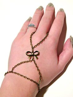 Antique Gold Bow Slave Bracelet Ring Brass by ContradictionsJC, $16.00